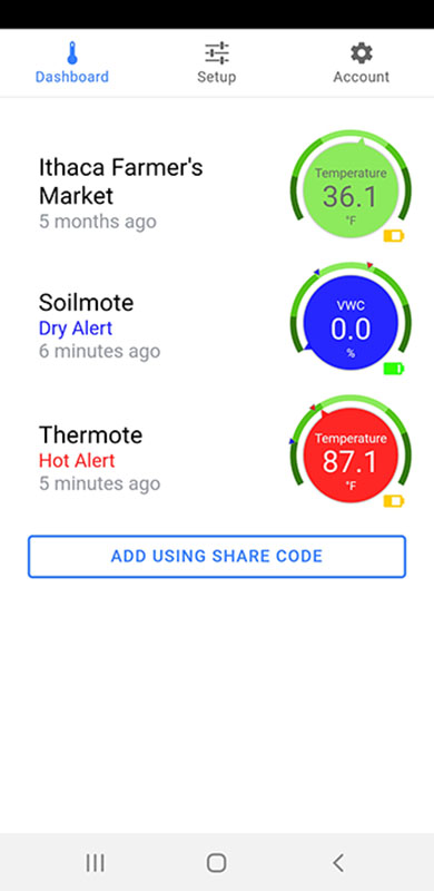 Thermote X Screenshots; nist traceable wireless temperature sensor
