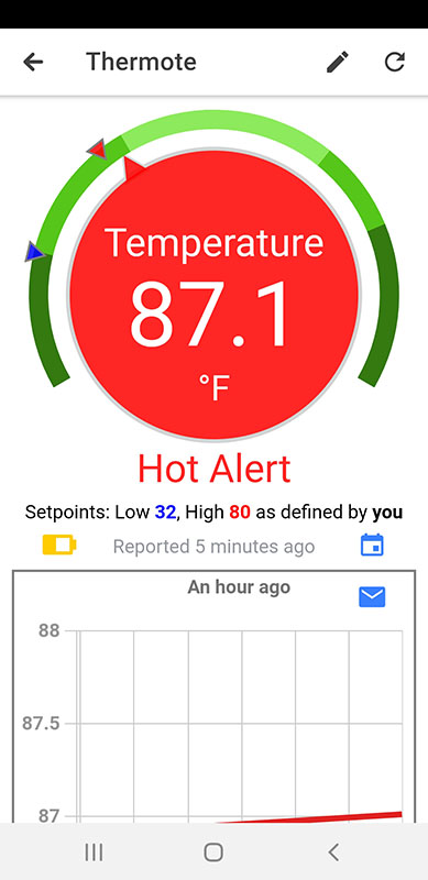 Thermote App Screenshots 2; wireless temperature sensor